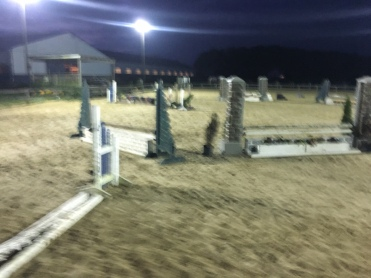 Blurry view of many of the jumps from the circle exercise